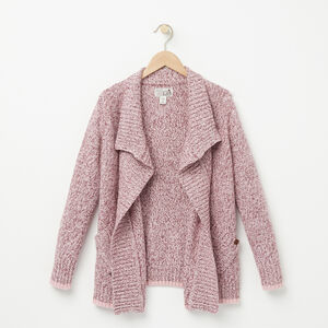 Roots-Kids Girls-Girls Roots Cabin Waterfall Cardigan-Cabernet Mix-A