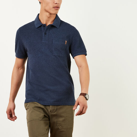 Roots-Sale Men's-Heritage Peppered Polo-Blue Pepper-A