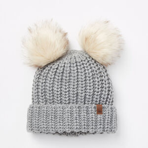 Roots-Gifts For Kids-Girls Olivia Pom Pom Toque-Grey Mix-A