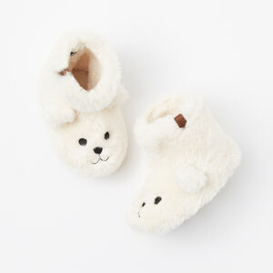 Roots-Kids Accessories-Toddler Bear Cub Slippers-Pristine White-A