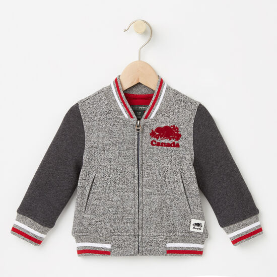 Roots-Kids Canada Collection-Baby Canada Varsity Jacket-Salt & Pepper-A