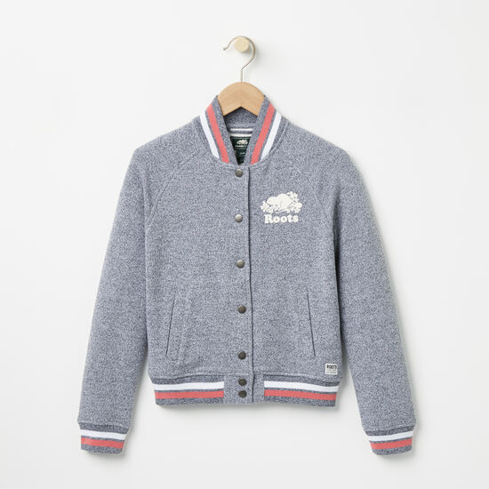 Roots-Kids Girls-Girls Celine Varsity Jacket-Salt & Pepper-A