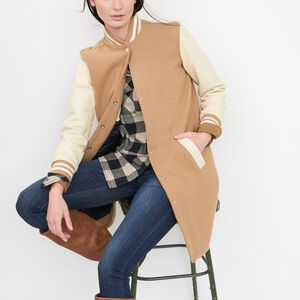 Roots-Leather Leather Jackets-Long Sorority Jacket-Camel-A