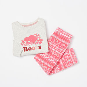 Roots-Kids Pajamas-Toddler Micro Fleece PJ Set-White Grey Mix-A