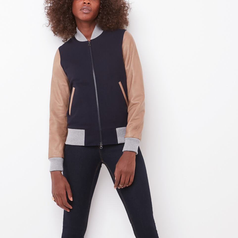 Roots-undefined-Womens Lightweight Jacket Melton/Leather-undefined-A