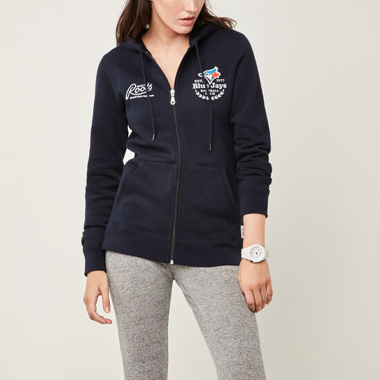 Roots-Men Toronto Blue Jays™-Womens Blue Jays Zip Hoody-Midnight Navy-A