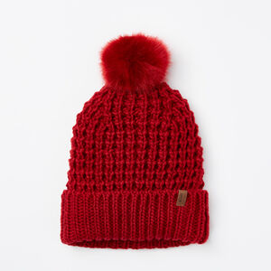 Roots-Women Hats-Olivia Faux Fur Pom Pom Toque-Lodge Red-A