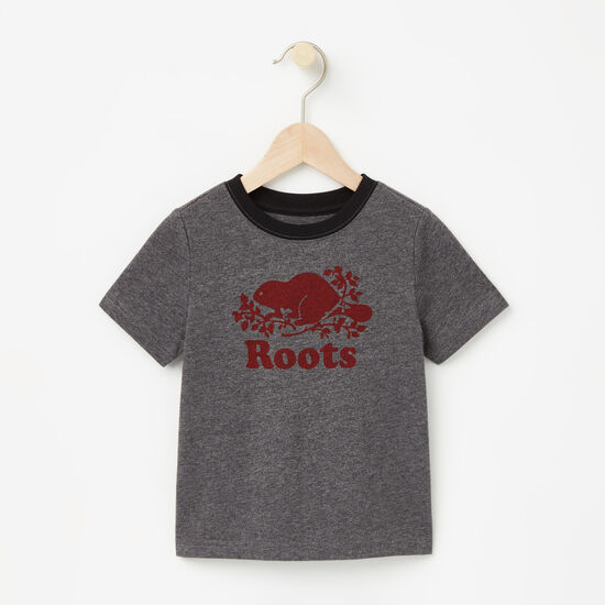 Roots-Kids T-shirts-Toddler Cooper Beaver T-shirt-Charcoal Mix-A