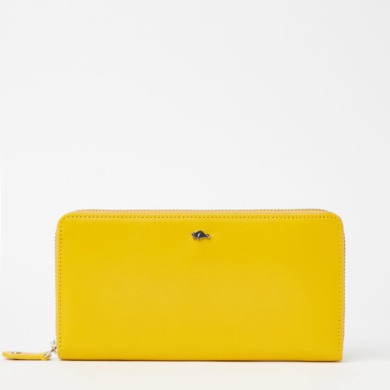 Roots-Leather Women's Wallets-Zip Around Wallet Bridle-Yellow-A