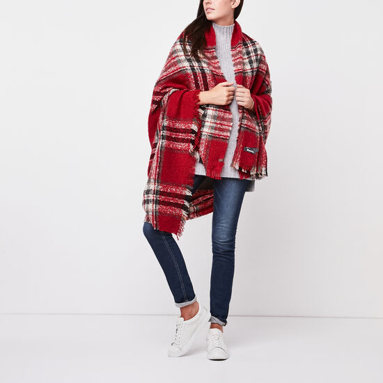 Roots-Women Scarves & Wraps-Emelia Blanket Scarf-Lodge Red-A