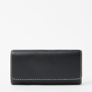 Roots-Women Wallets-Large Chequebook Clutch-Black-A
