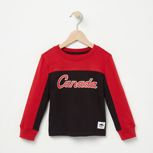 Roots-Kids Canada Collection-Toddler Heritage Script Long Sleeve Top-Sage Red-A