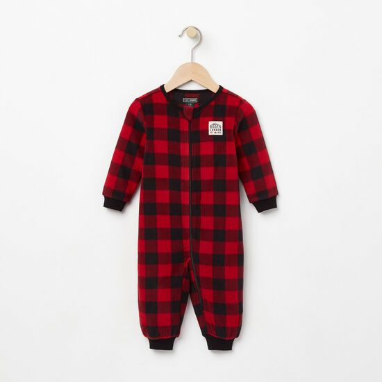Roots-Kids New Arrivals-Baby Buffalo Check Sleeper-Lodge Red-A