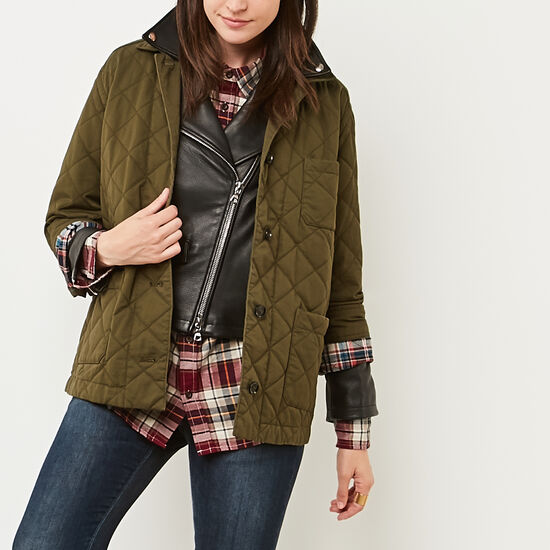 Roots-Women Jackets-Belhaven Quilted Shacket-Ivy Green-A
