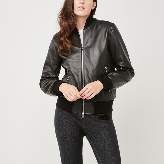 Roots-Leather Women's Leather Jackets-Women's Commander Jacket Lake-Black-A