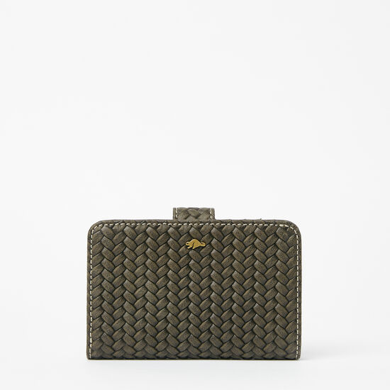 Roots-Leather New Arrivals-Bridget Wallet Woven-Pine-A