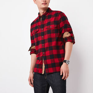 Roots-Men Plaids-Algonquin Flannel Shirt-Lodge Red-A