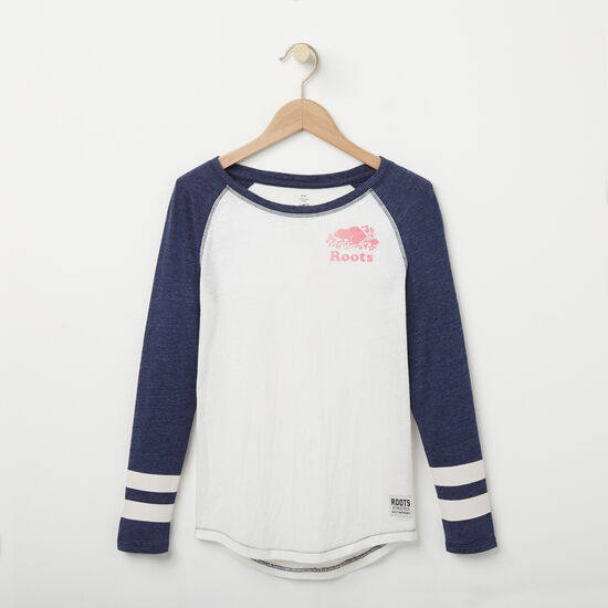 Roots-Kids New Arrivals-Girls Celine Baseball Top-Cloudy White-A