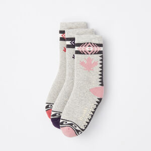 Roots-Kids Accessories-Toddler Penticton Sock 3 Pack-White Grey Mix-A