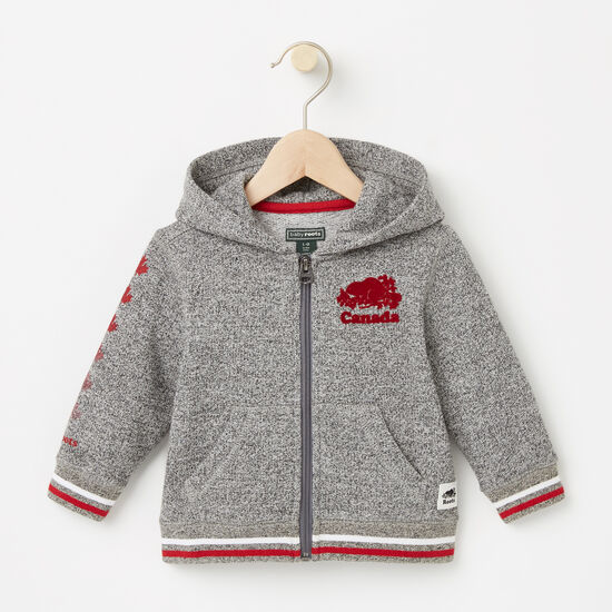 Roots-Kids Canada Collection-Baby Canada Full Zip Hoody-Salt & Pepper-A