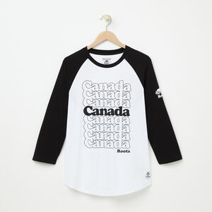 Roots-Women Men's-Mens Canada Stacked Baseball Tee-White-A