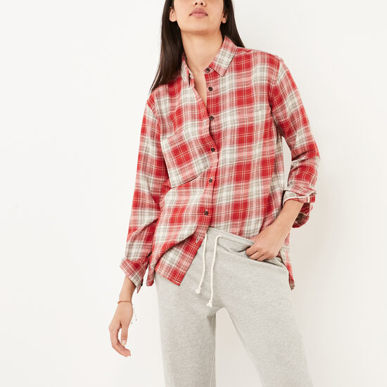 Roots-Sale Women's-Mapleridge Shirt-Sage Red-A