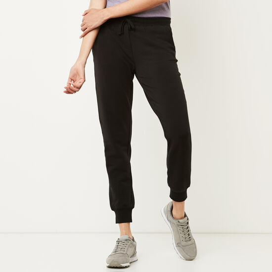 Roots-Women Slim Sweatpants-Cozy Fleece Sweatpant-Black-A