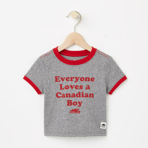 Roots-Kids T-shirts-Baby Canadian Boy T-shirt-Salt & Pepper-A