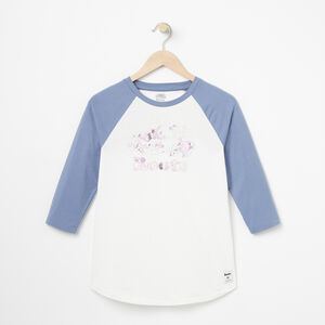 Roots-Women Tops-Water Colour Baseball Top-White-A