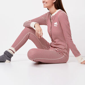 Roots-Women Sleepwear-Holiday Striped Onesie-Lodge Red-A