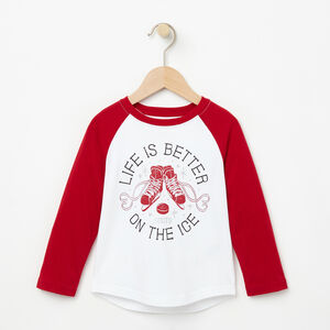 Roots-Kids T-shirts-Toddler Holiday Raglan Top-Lodge Red-A