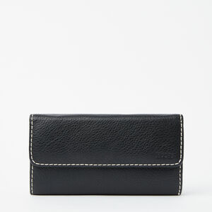 Roots-Women Wallets-Medium Trifold Clutch-Black-A