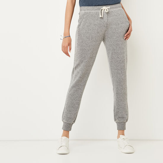 Roots-Women Slim Sweatpants-Cozy Fleece Sweatpant-Salt & Pepper-A