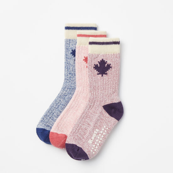Roots-Kids Accessories-Toddler Maple Cabin Sock 3 Pack-Night Shade-A