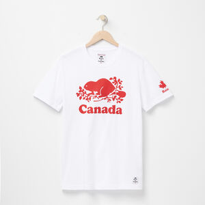Roots-Women Men's-Mens Cooper Canada T-shirt-White-A