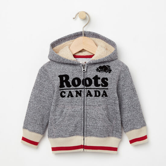 Roots-Kids New Arrivals-Baby Roots Cabin Full Zip Hoody-Salt & Pepper-A