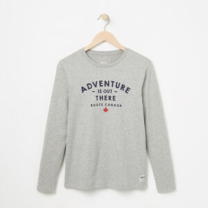 Roots-Women Graphic T-shirts-Adventure Long Sleeve-Grey Mix-A