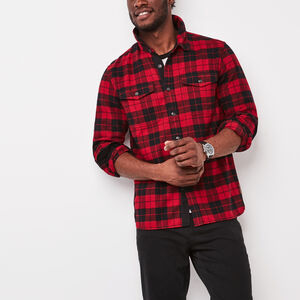 Roots-New For December Men-Algonquin Flannel Shirt-Red-A