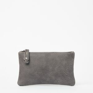 Roots-Women Leather Accessories-Medium Zip Pouch Tribe-Charcoal-A