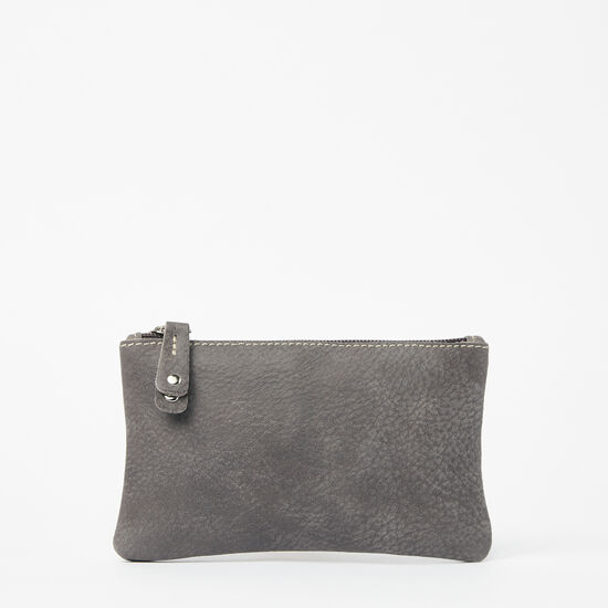 Roots-Leather Leather Pouches-Medium Zip Pouch Tribe-Charcoal-A