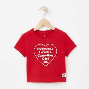 Roots-Kids Canada Collection-Baby Canadian Heart T-shirt-Sage Red-A