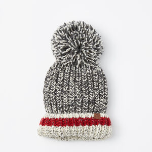 Roots-Women Hats-Chunky Cabin Pom Pom Toque-Salt & Pepper-A