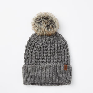 Roots-Women Hats-Olivia Faux Fur Pom Pom Toque-Medium Grey Mix-A