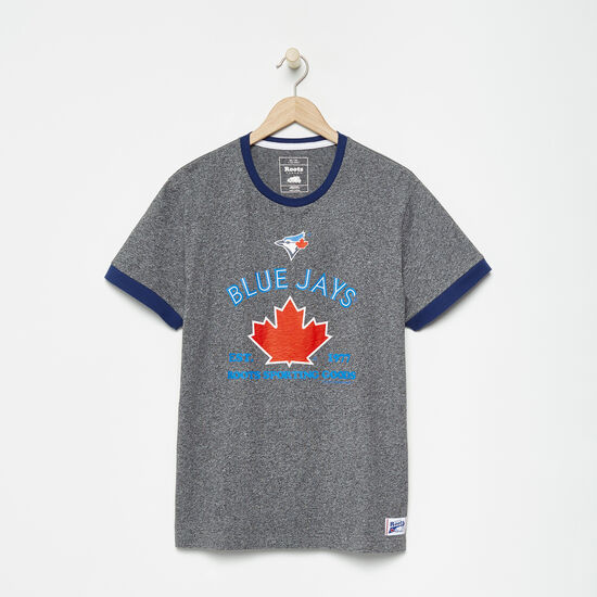 Roots-Men Toronto Blue Jays™-Mens Blue Jays Ballpark Ringer T-shirt-Salt & Pepper-A