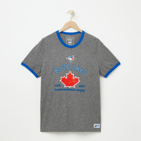 Roots-Men Toronto Blue Jays™-Mens Blue Jays Maple Ringer T-shirt-Salt & Pepper-A
