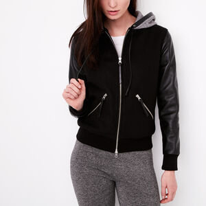 Roots-Women Leather Jackets-Alex Hoody Melton And Lake-Black-A