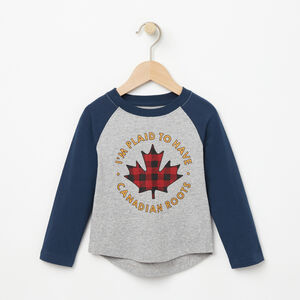 Roots-Sale Kids-Toddler Plaid Baseball Top-Grey Mix-A