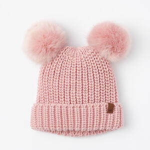 Roots-Kids Accessories-Girls Olivia Fur Pom Pom Toque-Pink-A