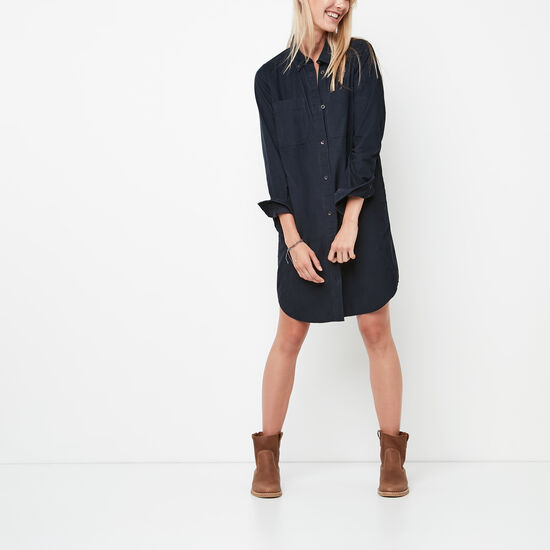 Roots-Women Dresses-Anderson Corduroy Dress-Navy Blazer-A