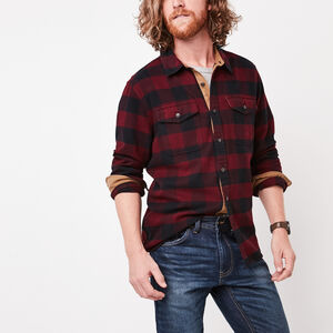 Roots-Gifts For Him-Algonquin Flannel Shirt-Crimson-A